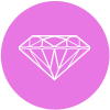 A diamond shape in white inside of pink circle is the logo for Something New Professional Jewelry Cleaners